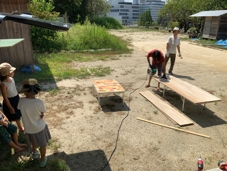 【プロジェクト・自由活動】プール完成!スライダー付き!