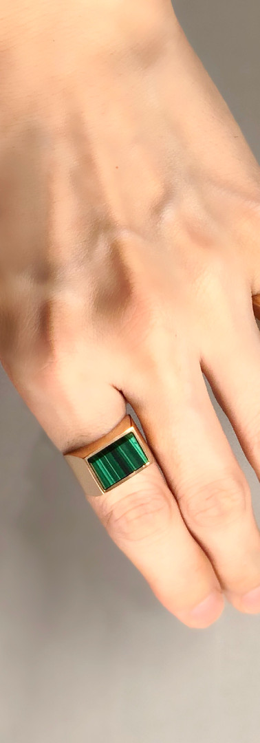 malachite / pink gold (size 17) ・assembler ring  pink gold (size 9)