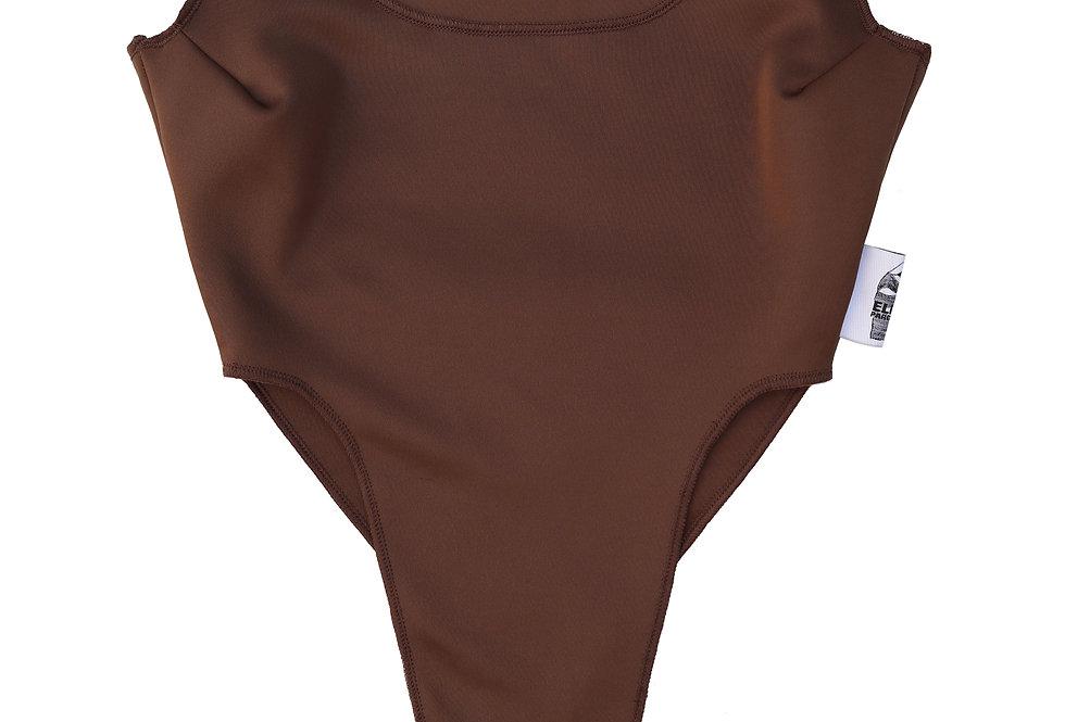 Regular High Leg Bodysuit in Cocoa