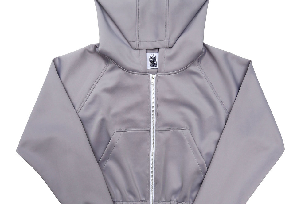 Scuba Cropped Hoodie in Oyster