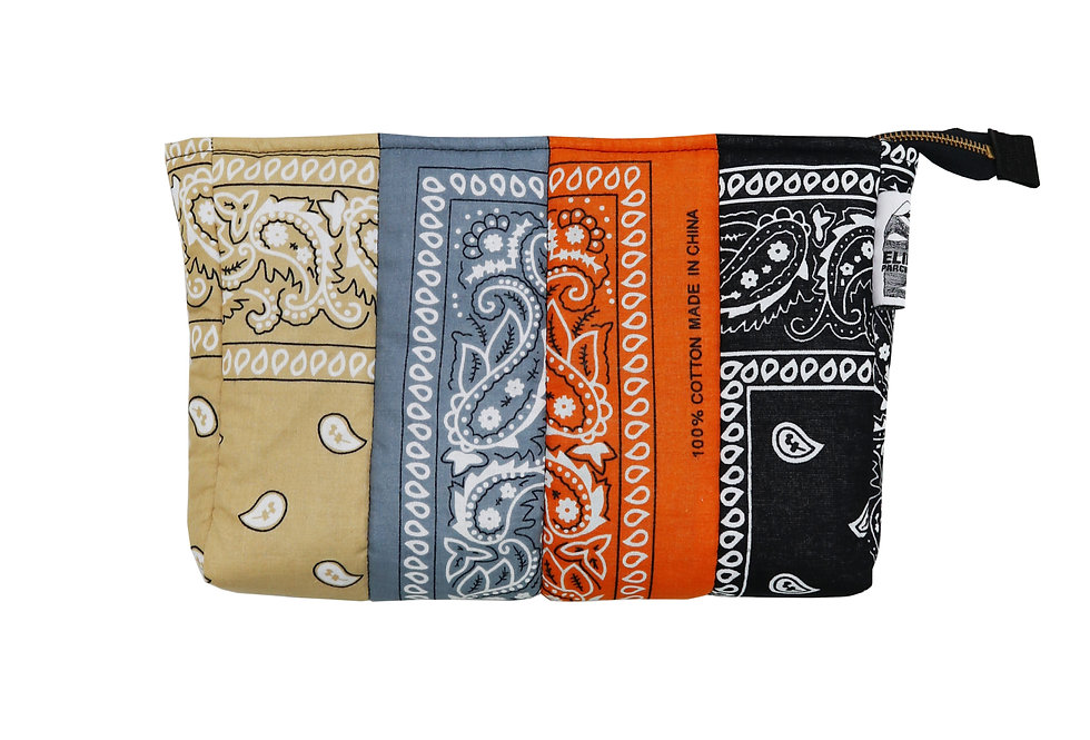Unisex Bandana Patch Clutch in Tangerine