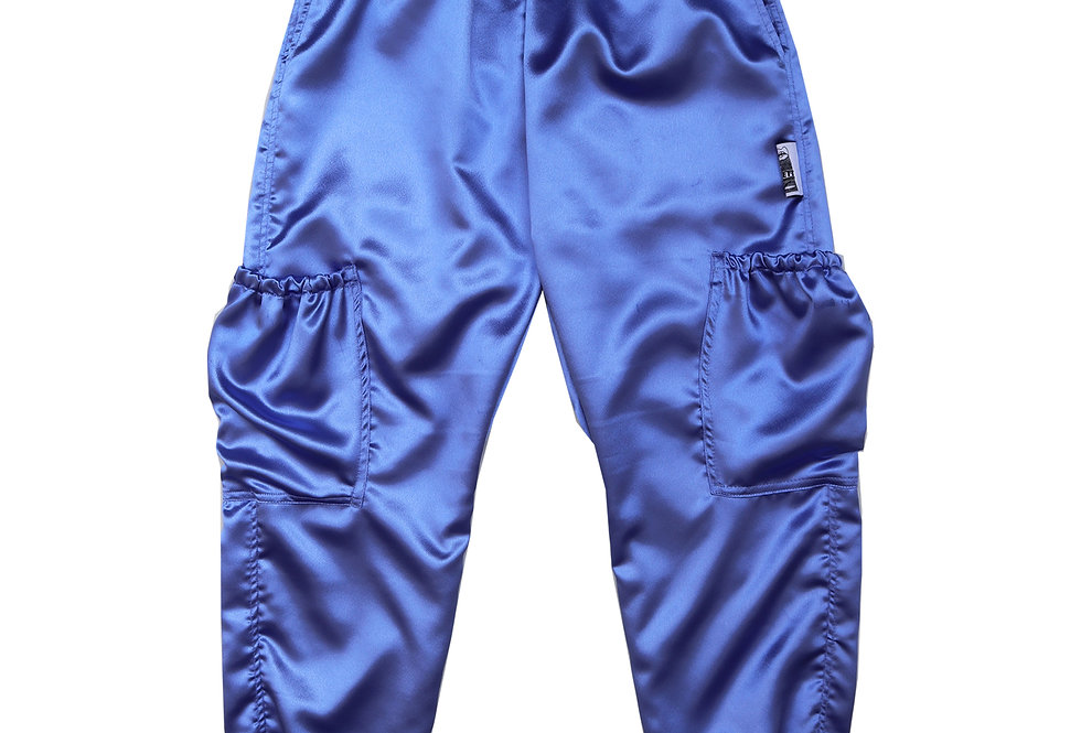 Satin Cargo Trousers in Hyacinth