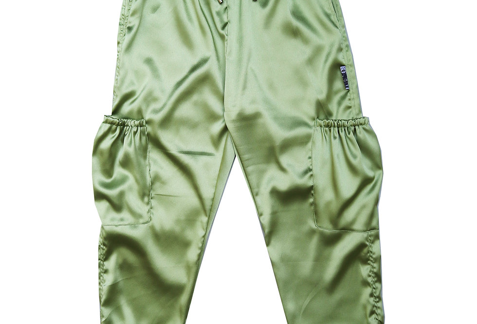 Satin Cargo Trousers in Lime