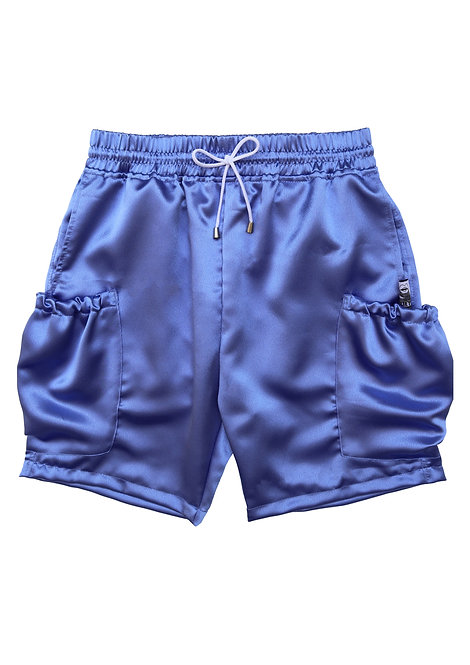 Satin Cargo Shorts in Hyacinth