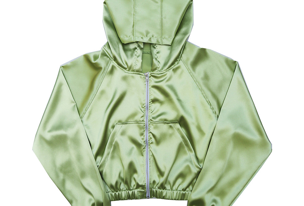 Satin Cropped Hoodie in Lime