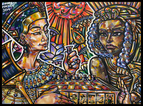 """Queen Nefertiti and Queen Tiye Play Senet"""