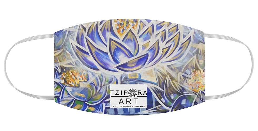 Nefertem's Blue Lotus Crown Fabric Face Mask
