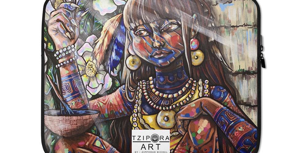 Tzipora Art | Timucua Girl, Ela Laptop Sleeve