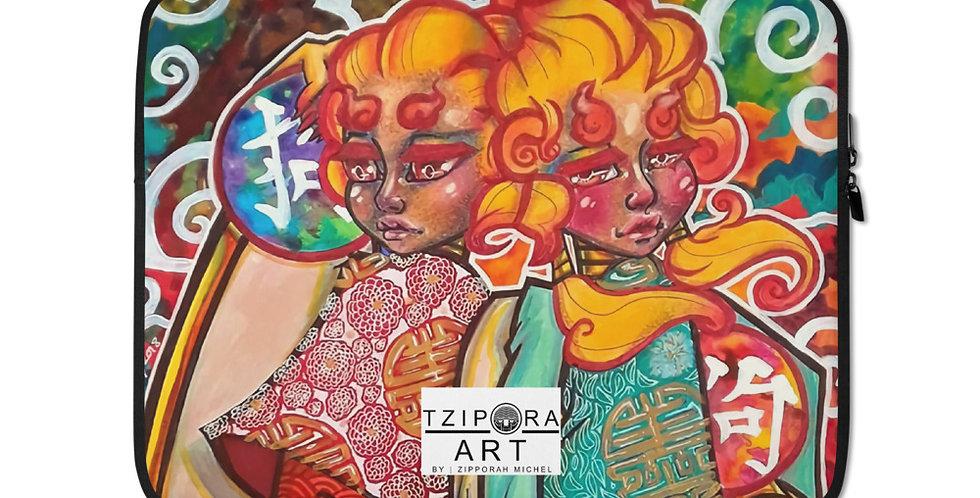 Tzipora Art | Fu Lion Dogs Laptop Sleeve