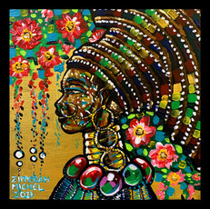 """""""Ziphozonke I"""" Acrylic on Canvas 12 inches x 12 inches 2021 -Sold at Wilton Art's artsquare12x122021 silent auction"""