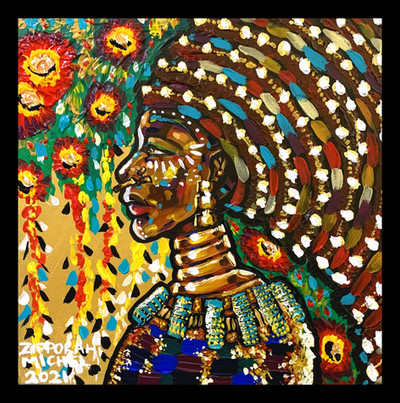 """""""Ziphozonke II"""" Acrylic on Canvas 12 inches x 12 inches 2021 -Sold at Wilton Art's artsquare12x122021-22"""