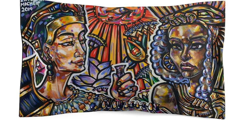 """""""Queen Nefertiti and Queen Tiye Play Senet"""" Microfiber Pillow Sham"""