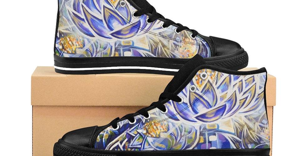 Nefertem's Blue Lotus Crown Men's High-top Sneakers