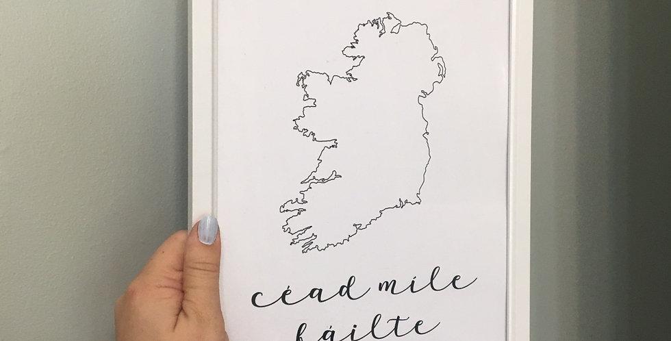 'Ceád Míle Fáilte' Ireland A4 Print