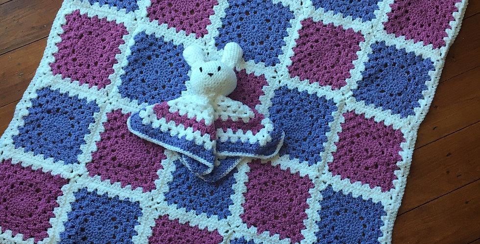 Pink & Purple Pram Blanket & Matching Comforter