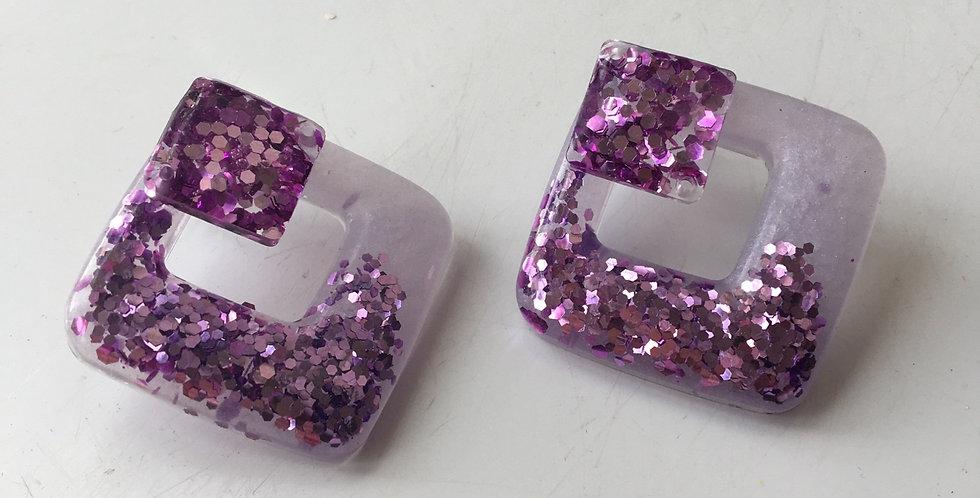 Lilac Shimmer & Glitter Earrings