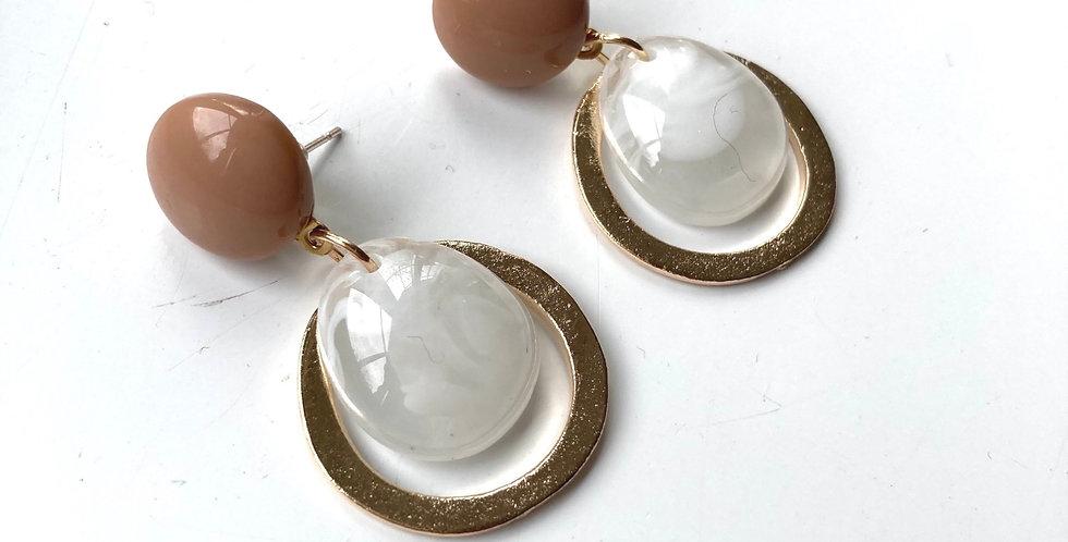 Nude & Pearl Resin Drop Earrings