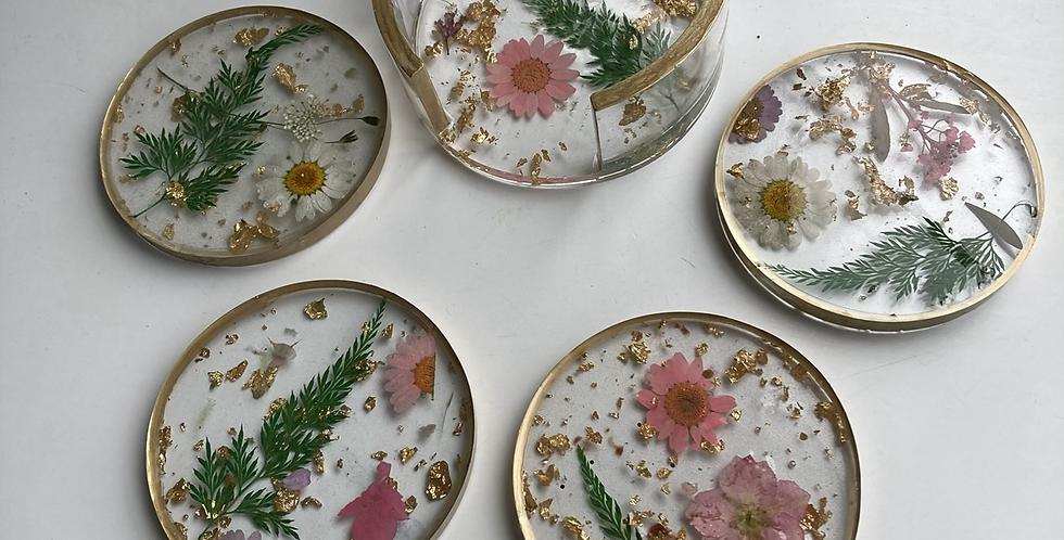 Floral & Gold Flake 5 Piece Coaster & Holdet Set