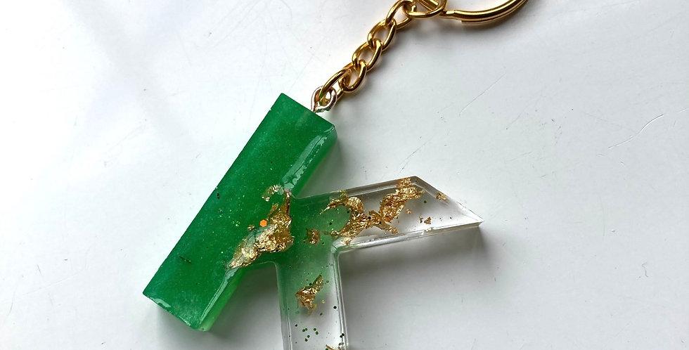 'K' Green & Gold Flake Keyring