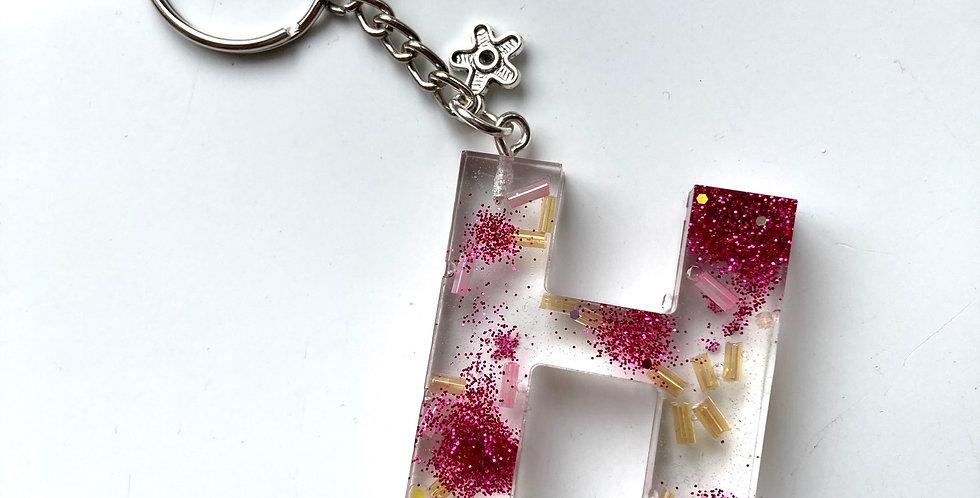 'H' Glitter Keyring