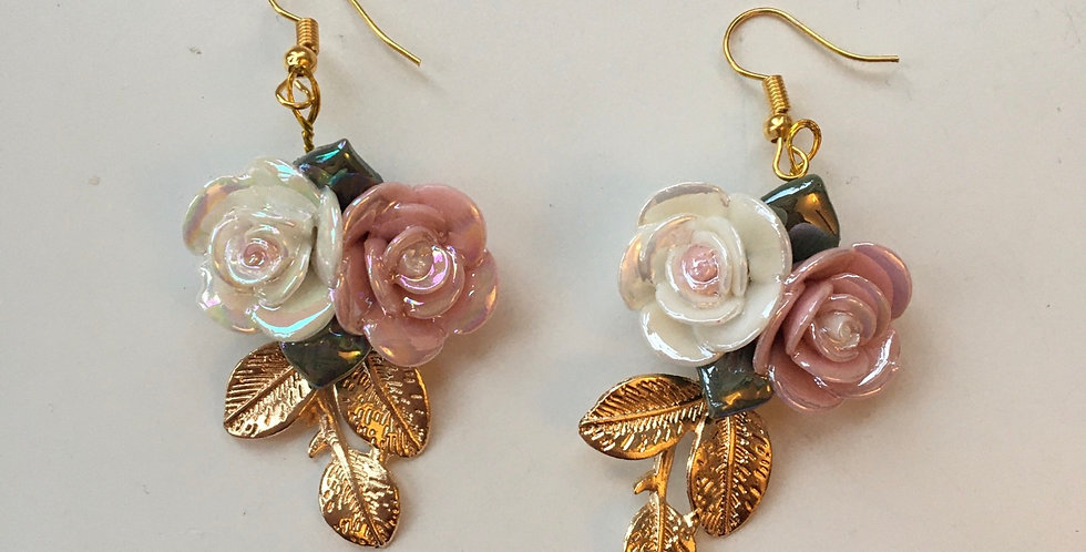 Gold Leaf & Floral Earrings