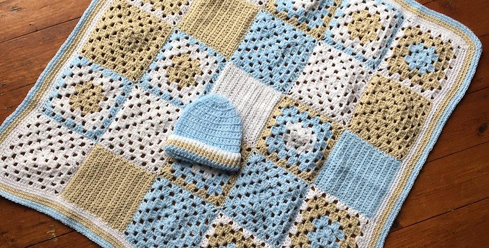 Blue, Beige & White Baby Set