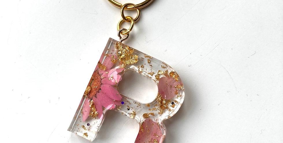 'R' Pink Floral Keyring