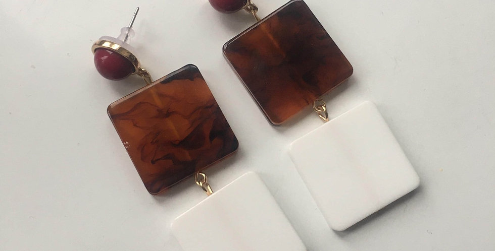Square Drop Resin Earrings - Whi