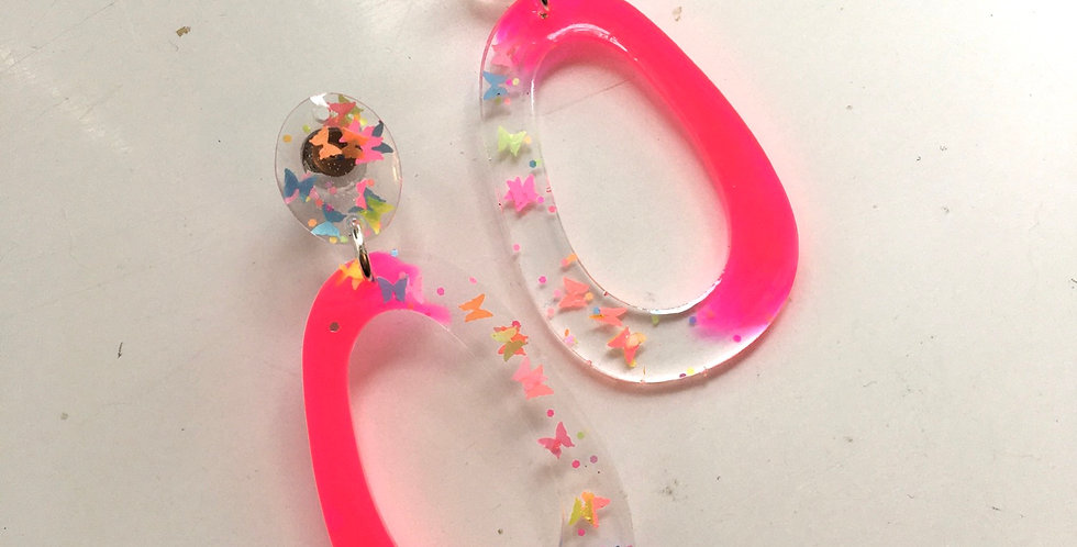 Neon Butterfly Statement Earrings
