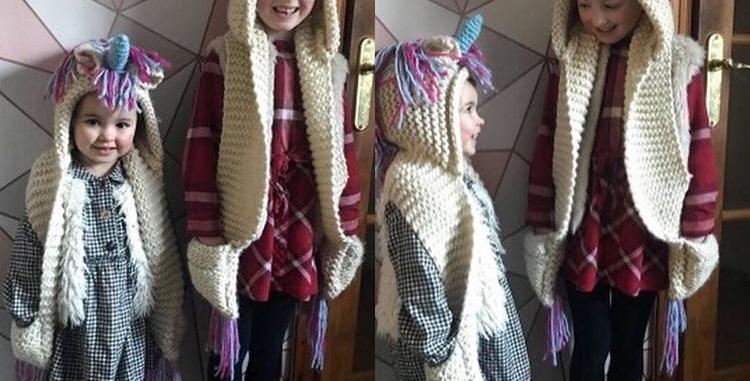 Unicorn Hooded Crochet Scarf