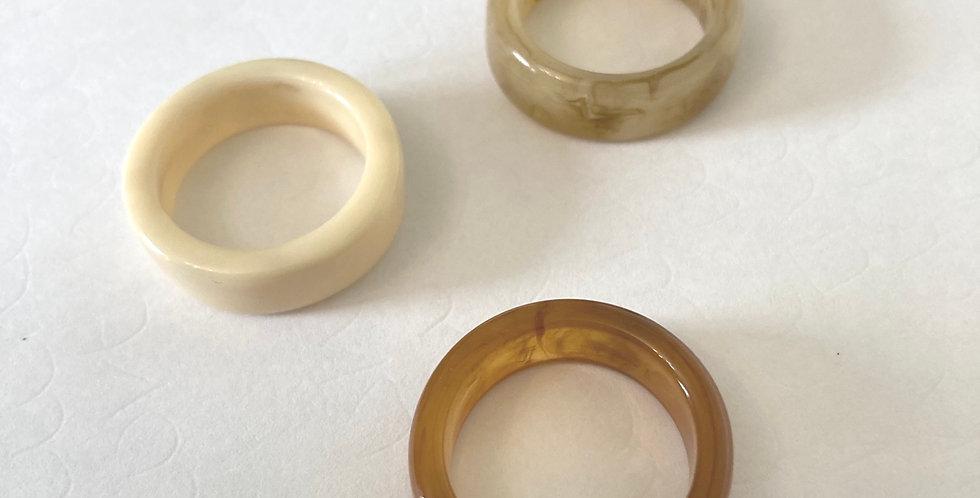 Set of 3 Neturals Resin Rings
