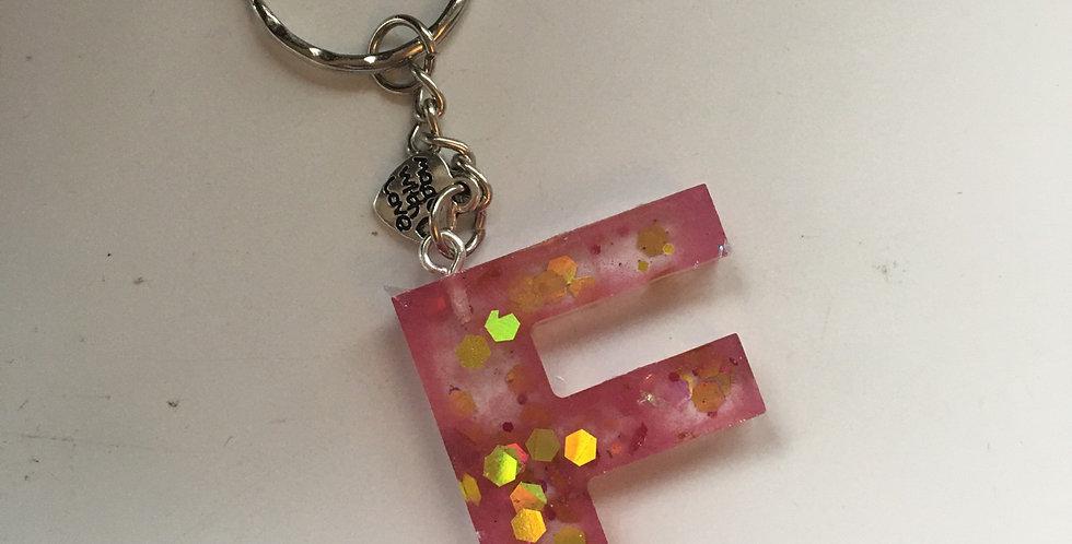 'F' Glitter Keyring