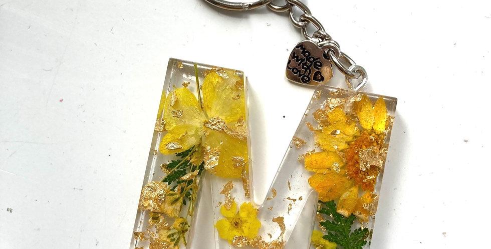 'M' Floral Keyring
