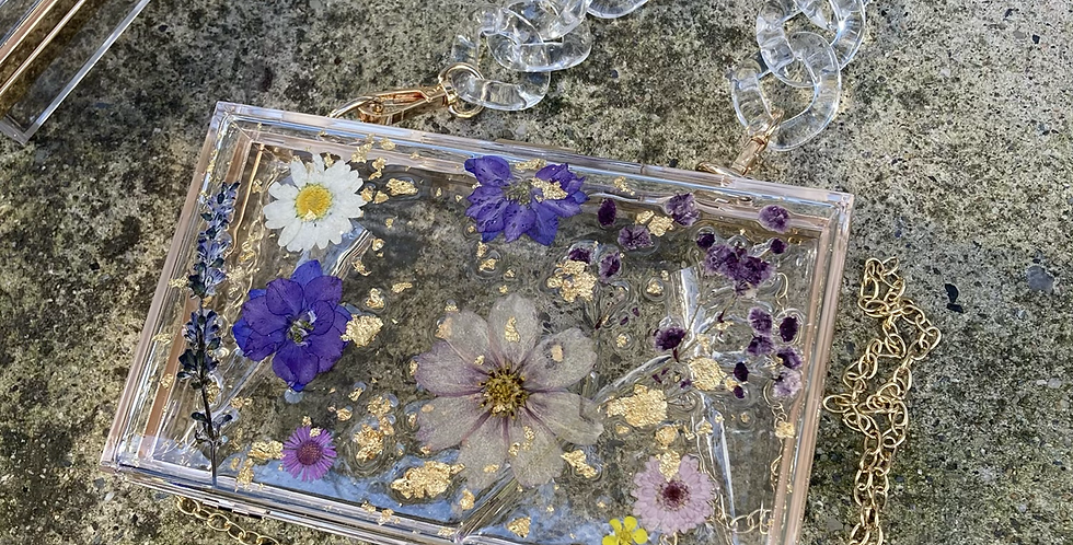 Purple Dried & Pressed Floral Clutch w/ 2 Detachable Handles