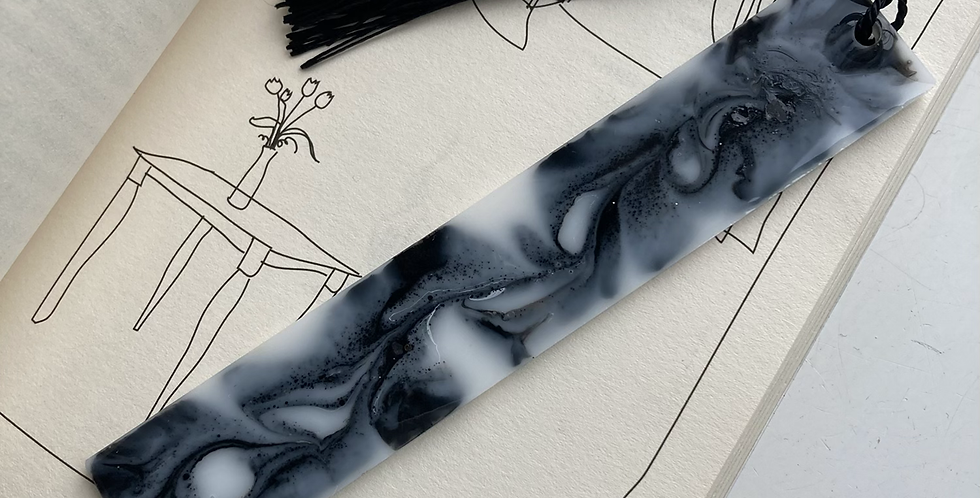 Black/White Marble Bookmark
