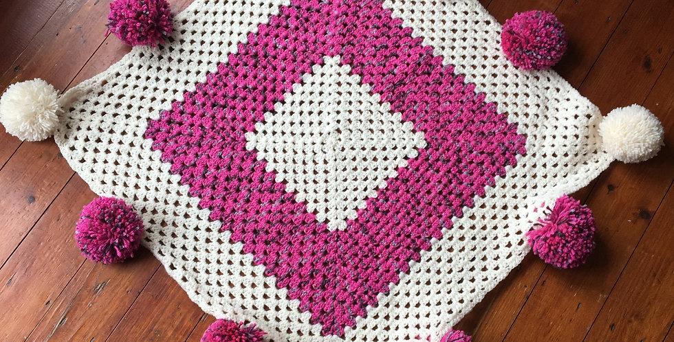 Pom-Pom Crochet Baby/Pram Blanket