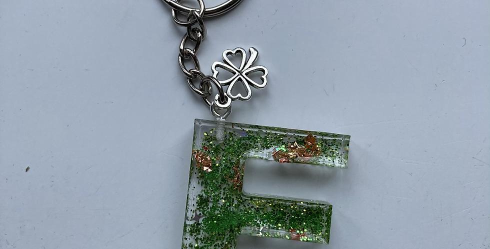 'F' Rose Gold & Green Keyring