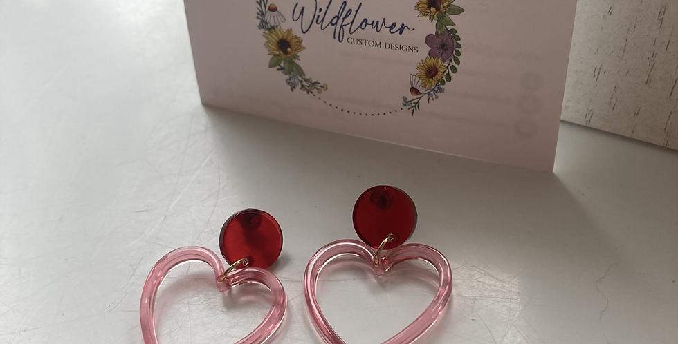 Red/Pink Heart Earrings