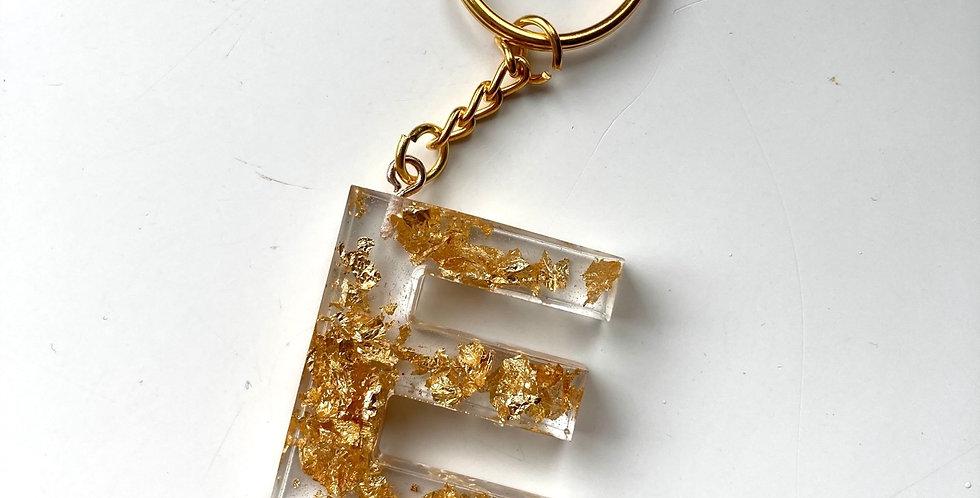 'E' Gold Flake Keyring