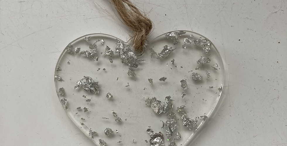 Hanging Small Silver Flake Heart