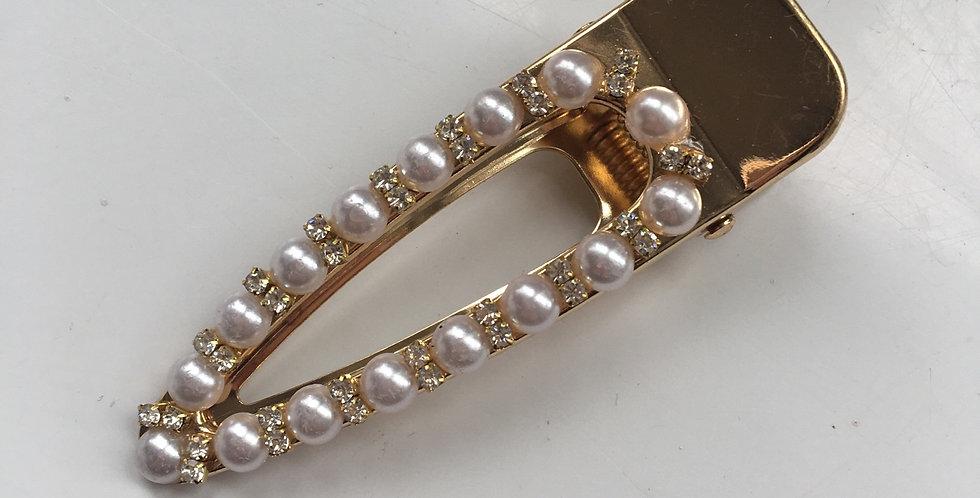 Diamond & Pearl Gold Crocodile Clip