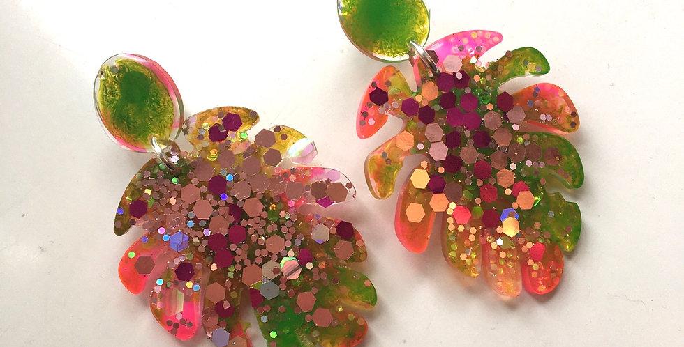 Neon Glitter Leaf Earrings