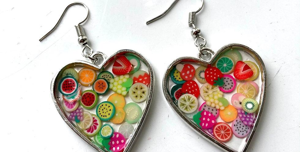 Fruit Heart Drop Earrings