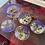 Thumbnail: Purple Floral & Gold Flake 5 Piece Coaster & Holder Set