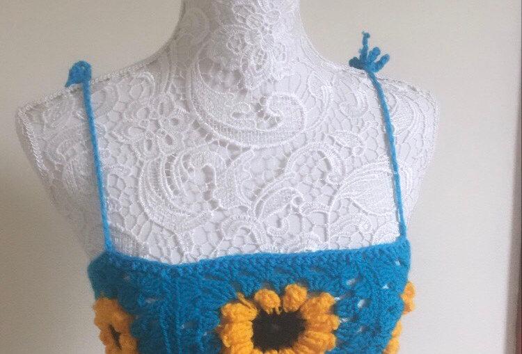 Blue Sunflower Crochet Crop Top