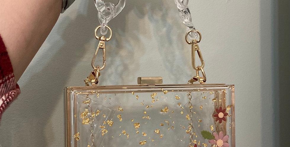Wildflower x Happy Clays Gold Floral Clutch w/ Two Detachable Straps