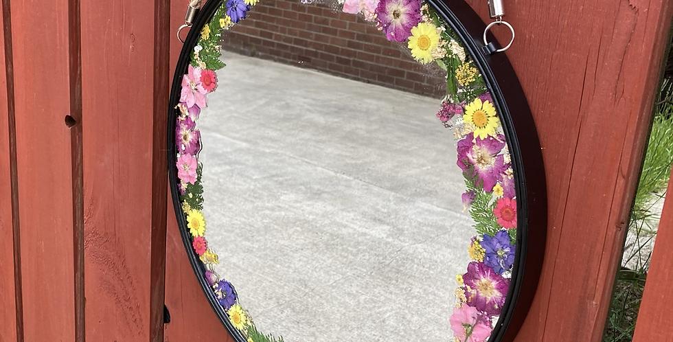 Multi Dried Floral Mirror