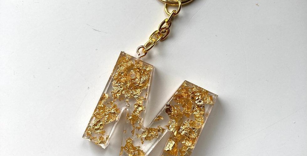 'M' Gold Flake Keyring