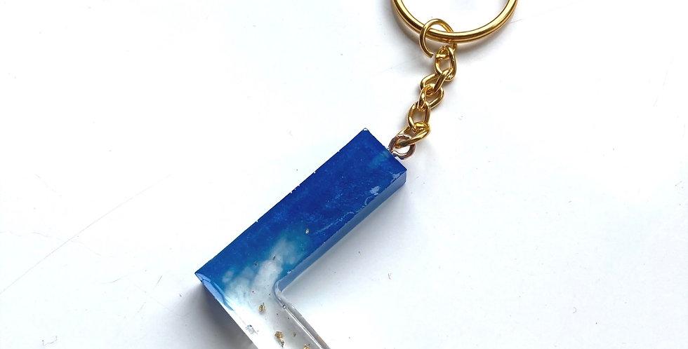 'L' Blue & Gold Flake Keyring