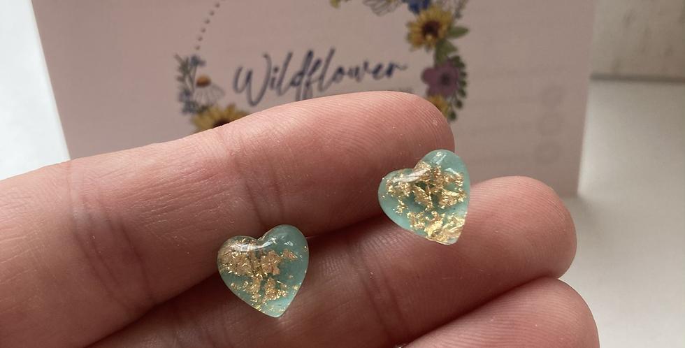Blue & Gold Flake Heart Studs